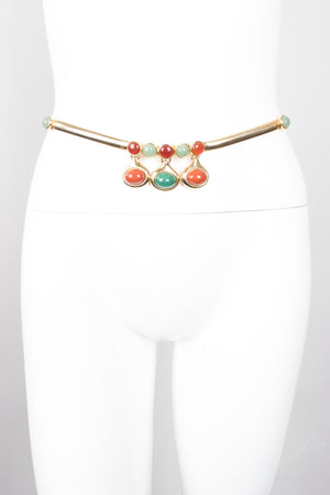 Judith Leiber Hanging Gemstone Teardrop Stretch Belt
