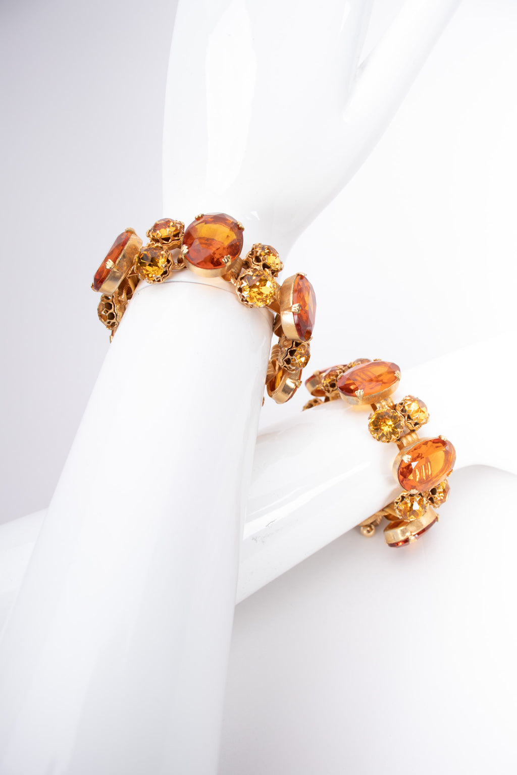 Vintage 60s Amber Crystal Jeweled Bracelet