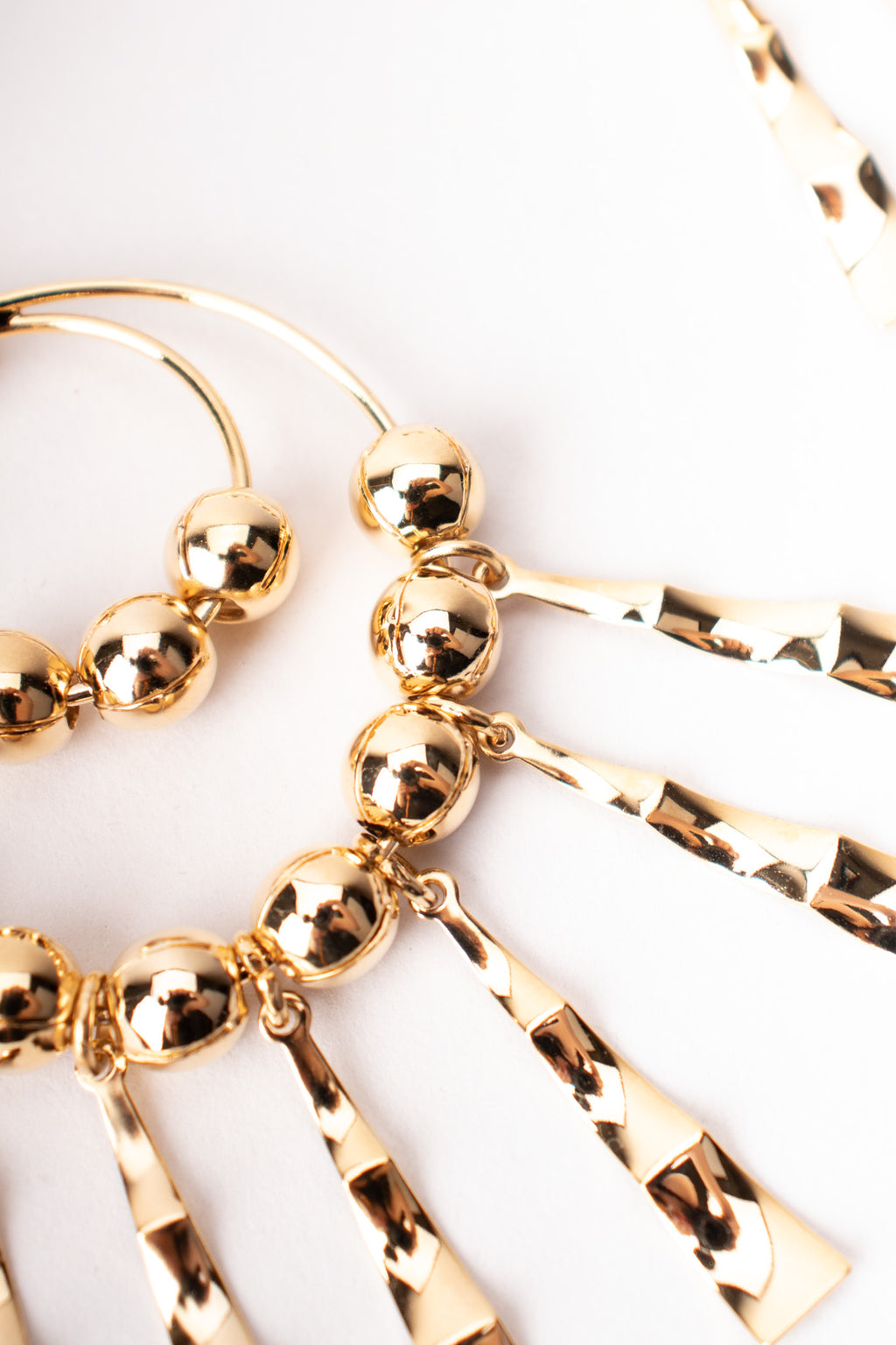 Gold Double Hoop Fringe Clip Chandelier Earrings