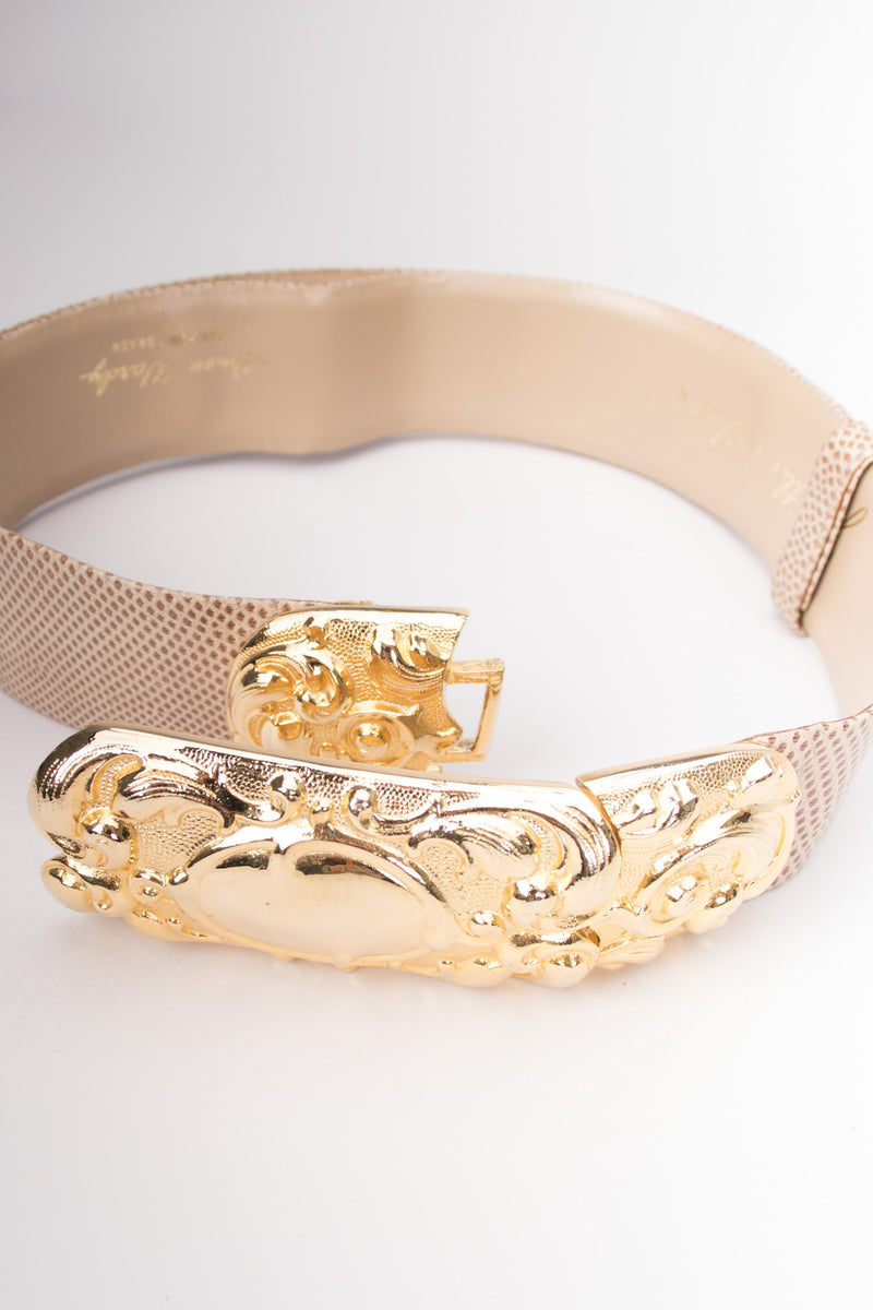 Judith Leiber Scrolled Statement Baroque Buckle Lizard Belt