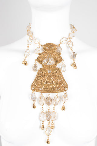 Accessocraft Byzantine Quartz Drop Plate Necklace