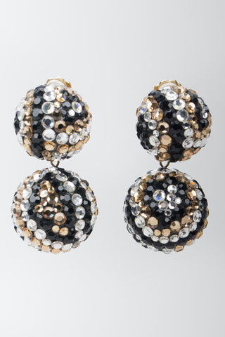 James Arpad Tiger Eye Rhinestone Crystal Pave Ball Earrings