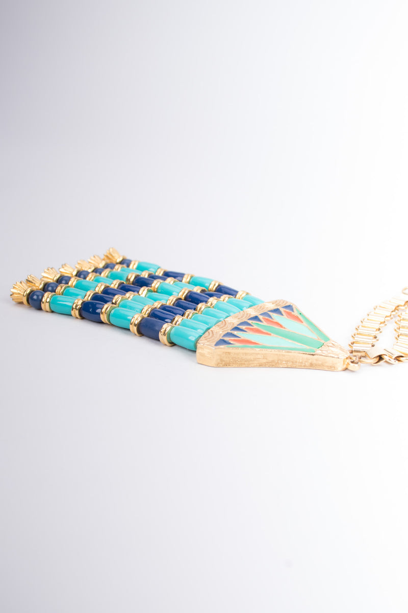 Hattie Carnegie Egyptian Bead Fringe Pendant Necklace