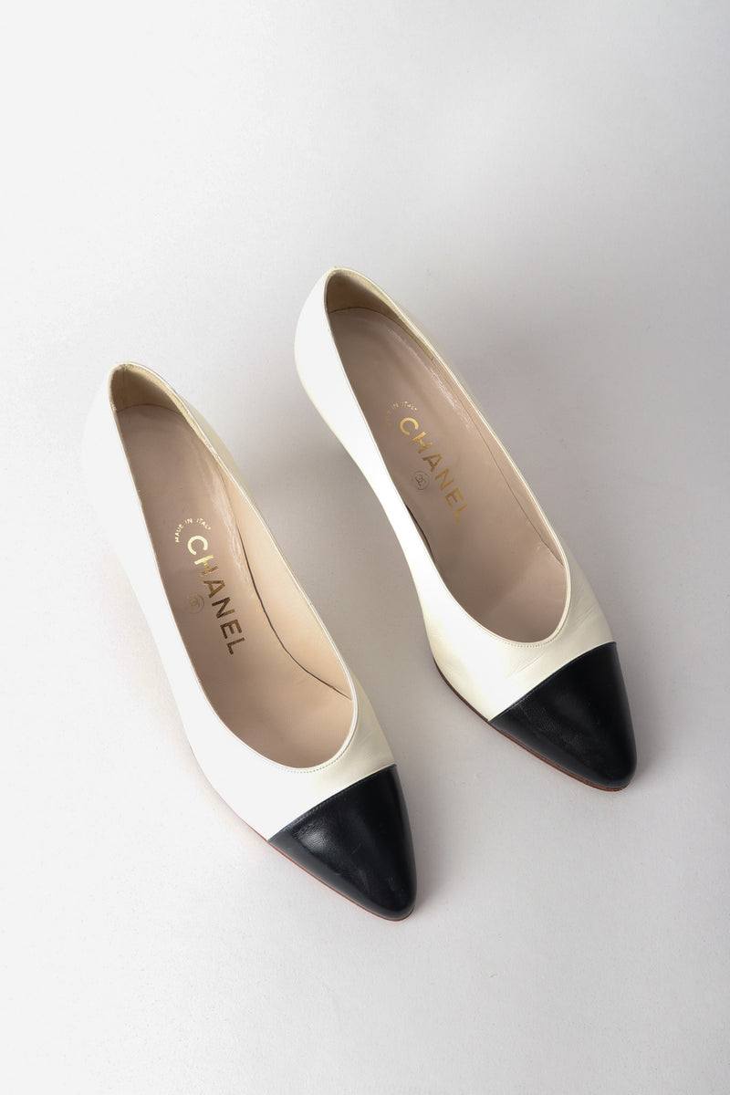 Chanel Classic Low Cap Toe Pumps