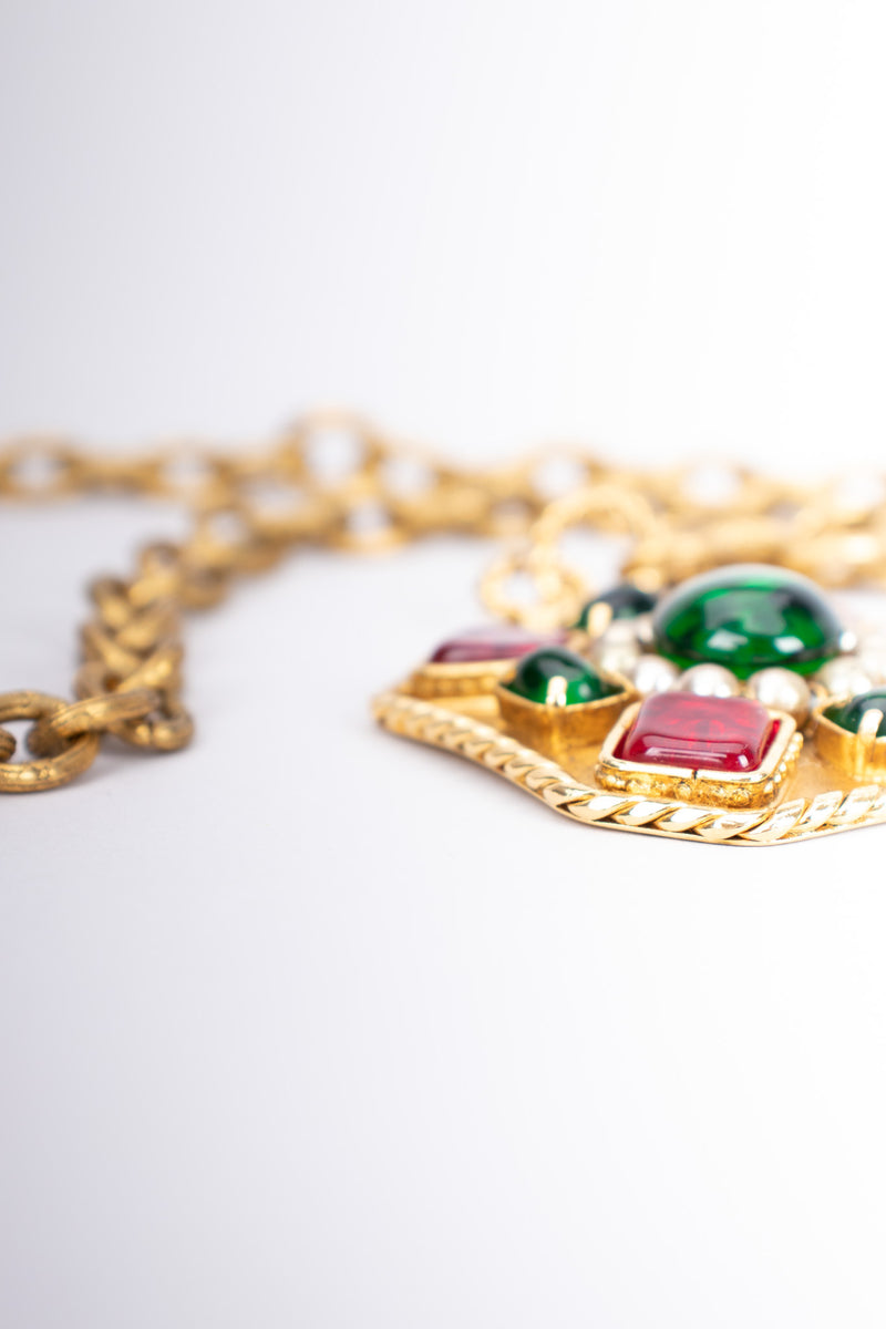 Chanel Gripoix Ruby Emerald Cabochon Medallion Pendant Necklace