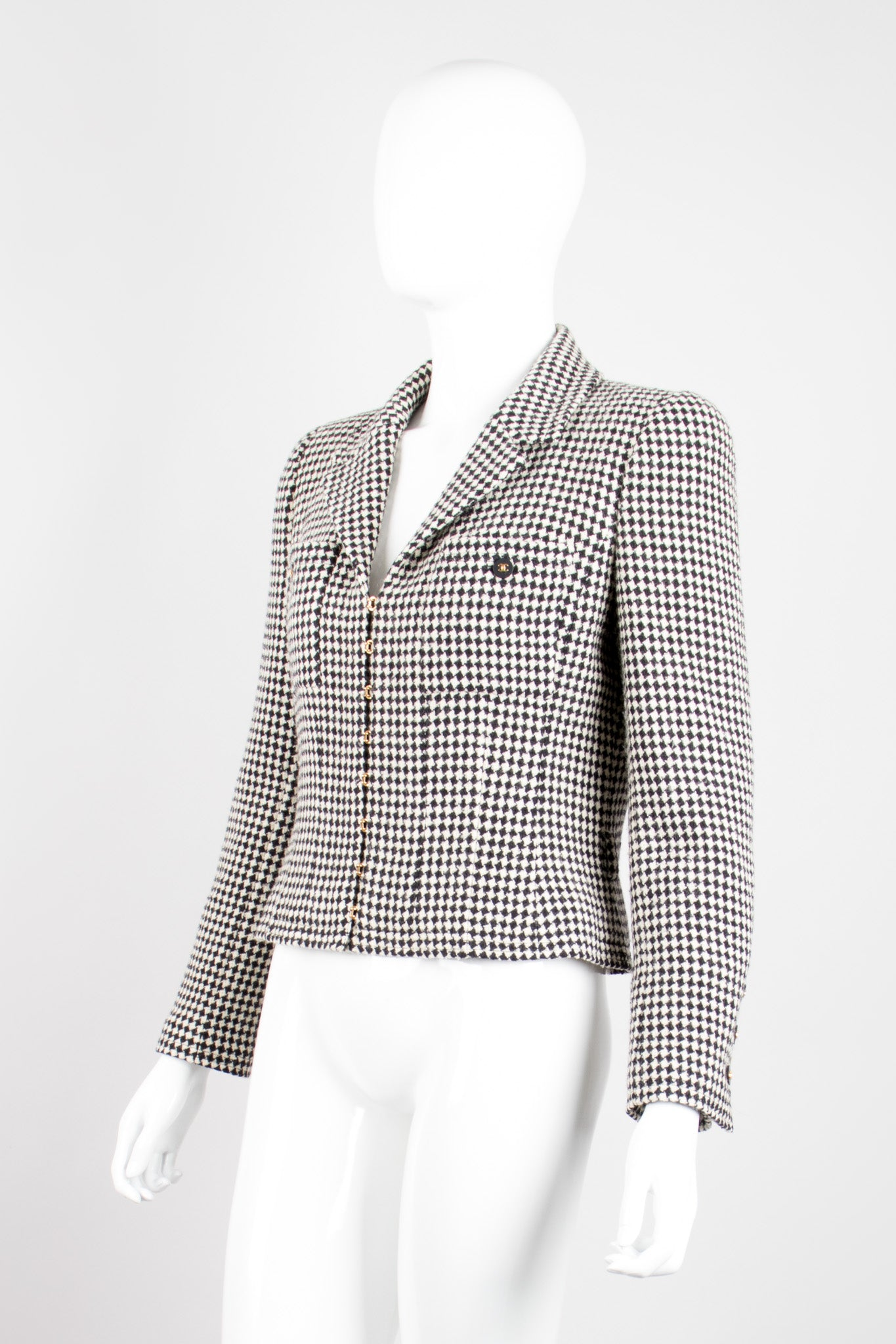 Chanel Wool Houndstooth Hook Front Jacket Blazer