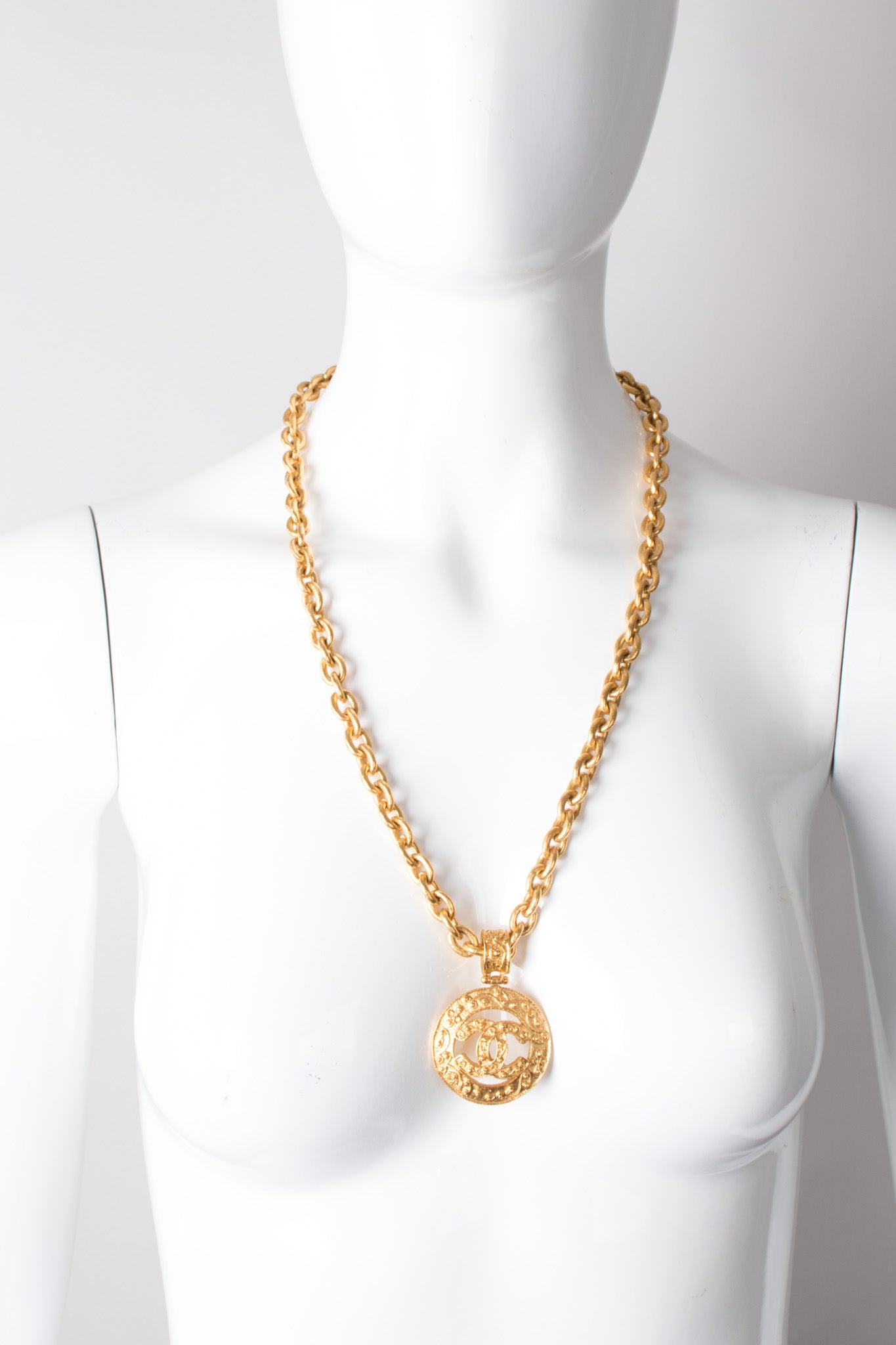Chanel cc logo pendant chain necklace recess la chanel triple cc logo pendant necklace aloadofball Image collections