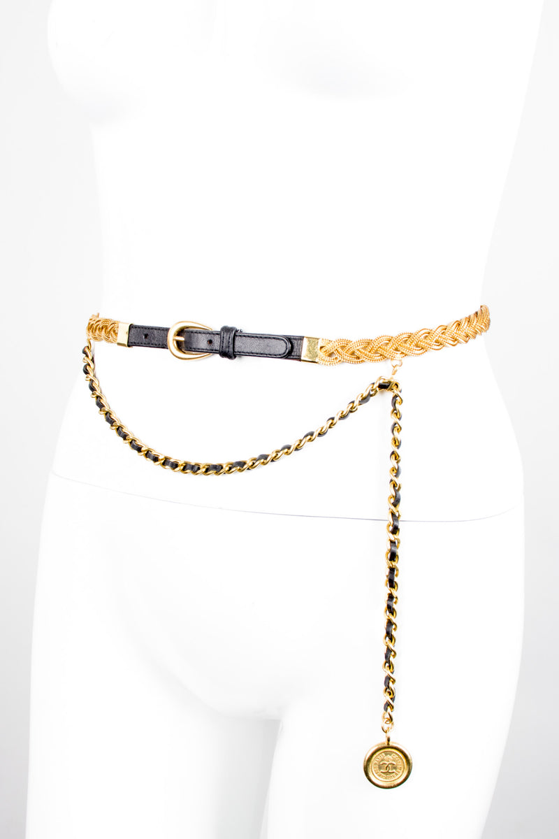 Chanel Thin Braided Leather Chain Charm Belt
