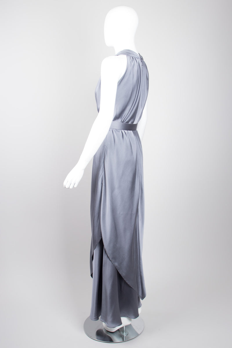 Pauline Trigere Vintage Layered Misty Silk Charmeuse Belted Dress