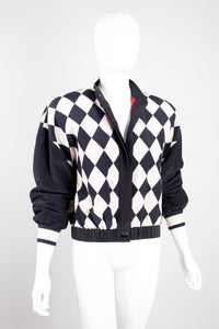 Ellen Tracy Silk Checker Gucci Bomber Jacket