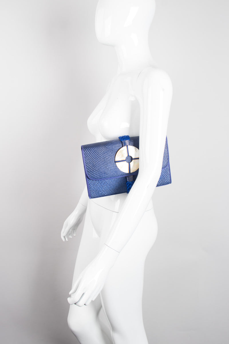 Cora Jacobs Midnight Blue Shell Straw Envelope Clutch Purse
