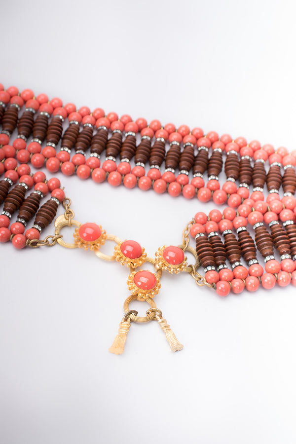 William De Lillo Coral Carved Abacus Bead Belt