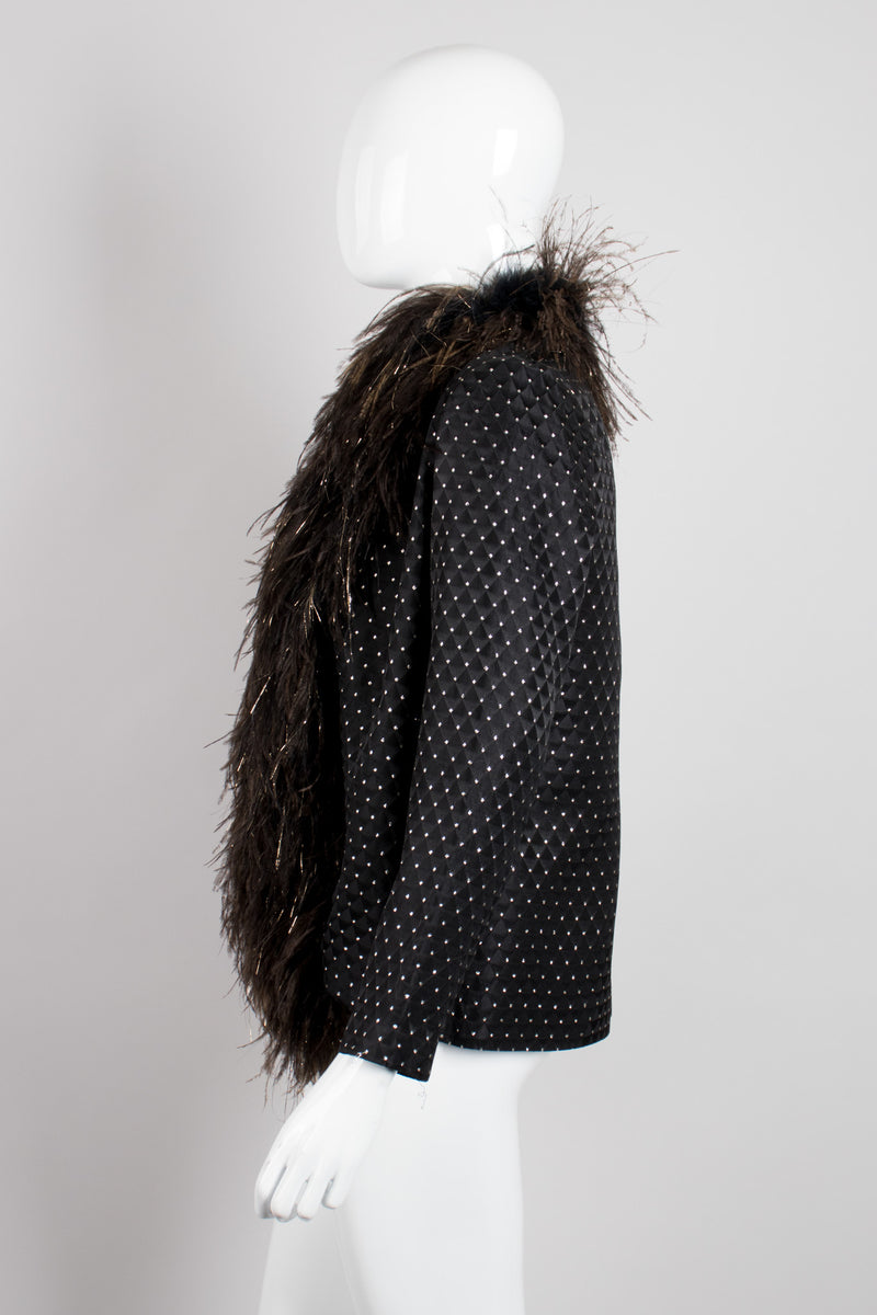 Pat Richards Gold Lamé Dotted Ostrich Feather Rock Jacket