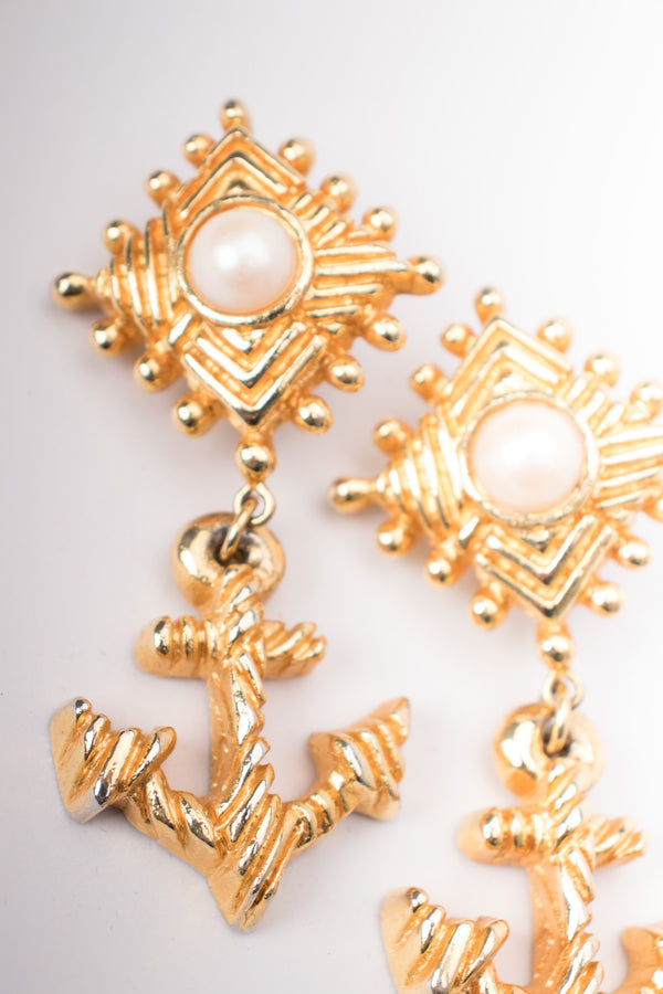Escada 80s Anchor Drop Faux Pearl Statement Clip Earrings