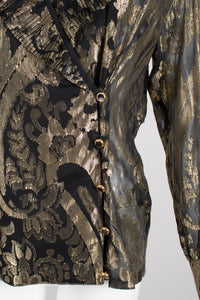 Escada Sheer Brocade Pleated Ruffle Collar Wrap Blouse Jacket