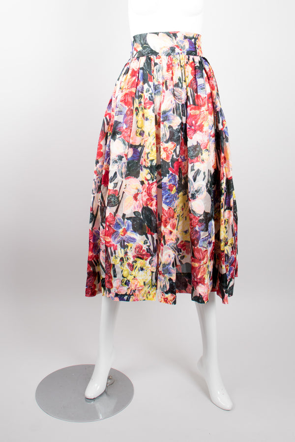 Fanée Floral Bloom Expressionist Painting Midi Skirt