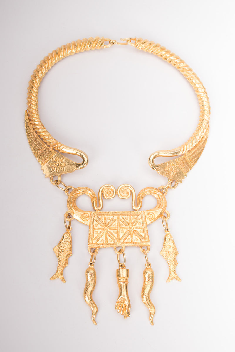 Alexis Kirk Etruscan Revival Amulet Mano Fico Cornetto Fish Collar Necklace