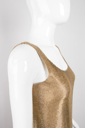 Fred Hayman Vintage Liquid Gold Backless Beaded Cocktail Dress