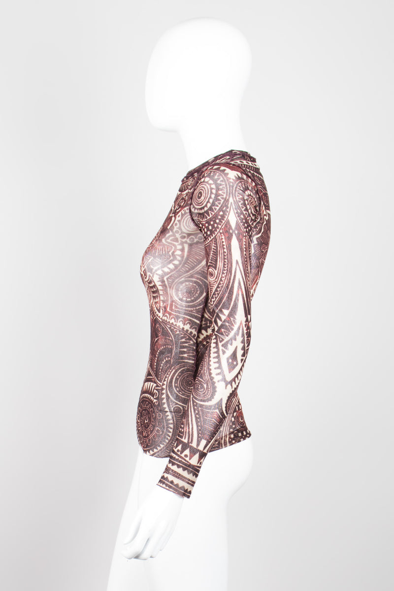 Jean Paul Gaultier JPG Maille Classique Henna Tattoo Illusion Mesh Shirt
