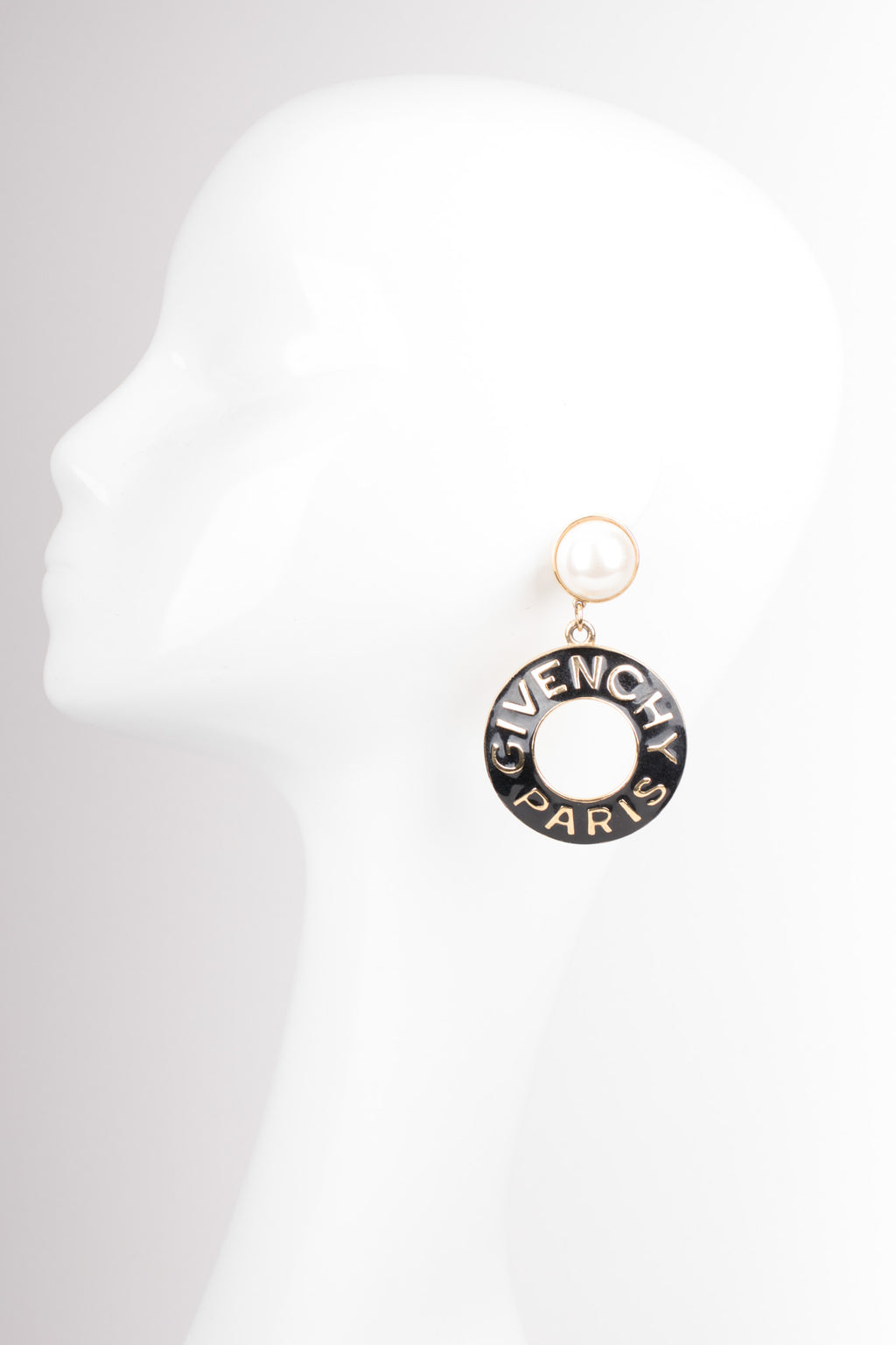 Givenchy Statement Enamel Pearl Drop Hoop Earrings