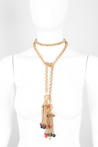 Vintage Triple Link Chain Glass Bead Tassel Wrap Necklace Belt