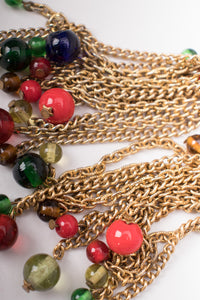 Vintage Triple Link Chain Glass Bead Tassel Wrap Necklace