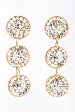 Recess Los Angeles Designer Consignment Vintage Rhinestone Crystal Triple Disc Drop Earrings