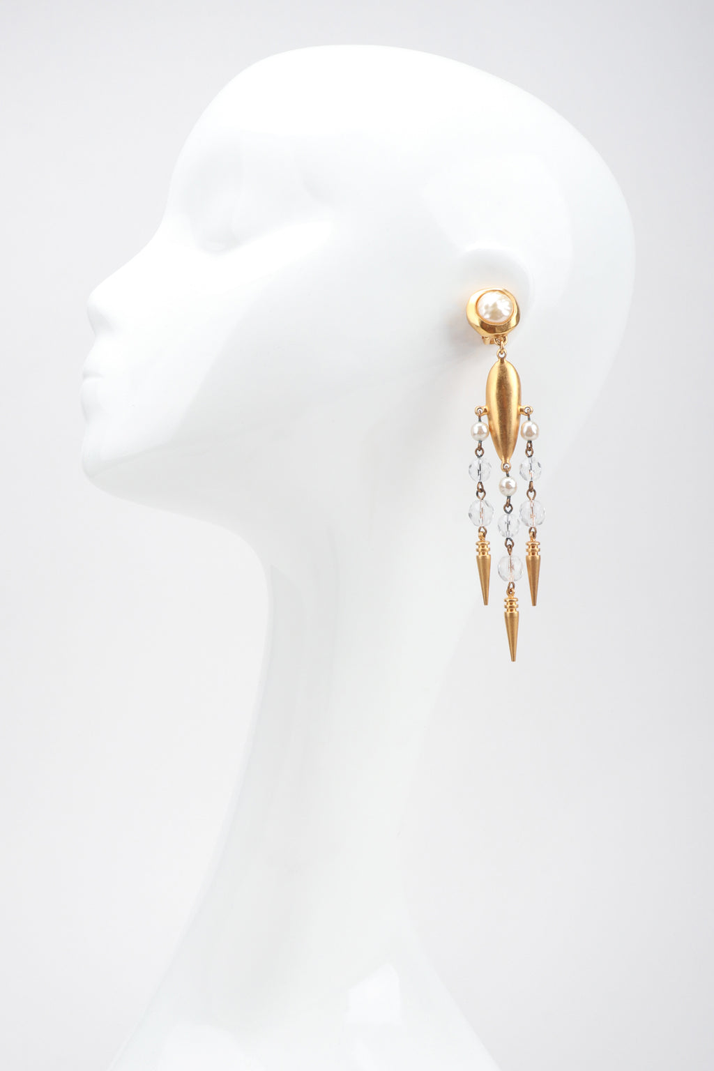 Recess Los Angeles Designer Consignment Vintage Beaded Spike Drop Chandelier Earrings