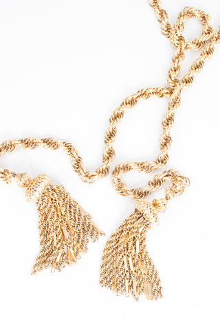 Vintage Gold Tassel Wrap Tie Necklace