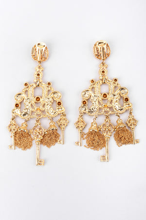 Recess Los Angeles Vintage Gianni De Liguoro Baroque Key Chandelier Earrings