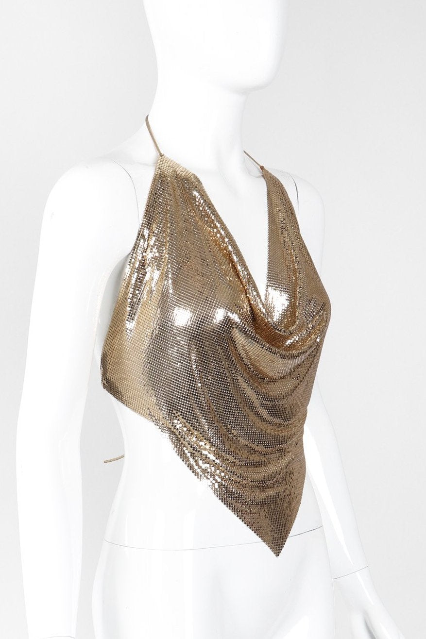 Recess Los Angeles Vintage Unsigned Liquid Gold Mesh Halter Top Whiting Davis