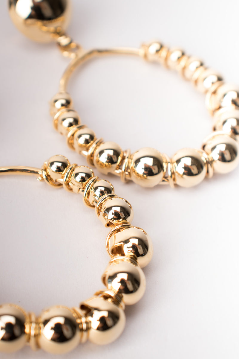 Oversized Vintage Gold Ball Hoop Earrings