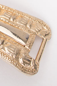 Judith Leiber Gold Stretch Lion's Head Belt