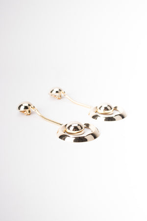 Gold Chain Drop Hoop Clip Earrings