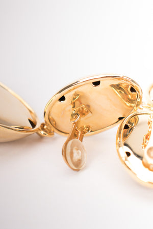 Vintage Golden Oval Drop Earrings
