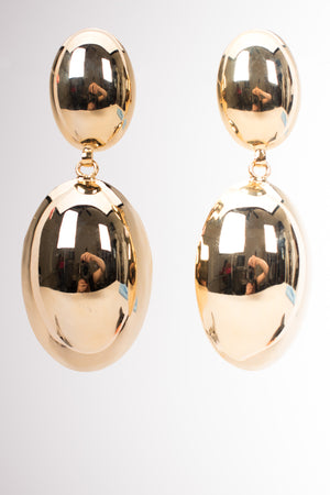 Vintage Shiny Golden Oval Drop Earrings