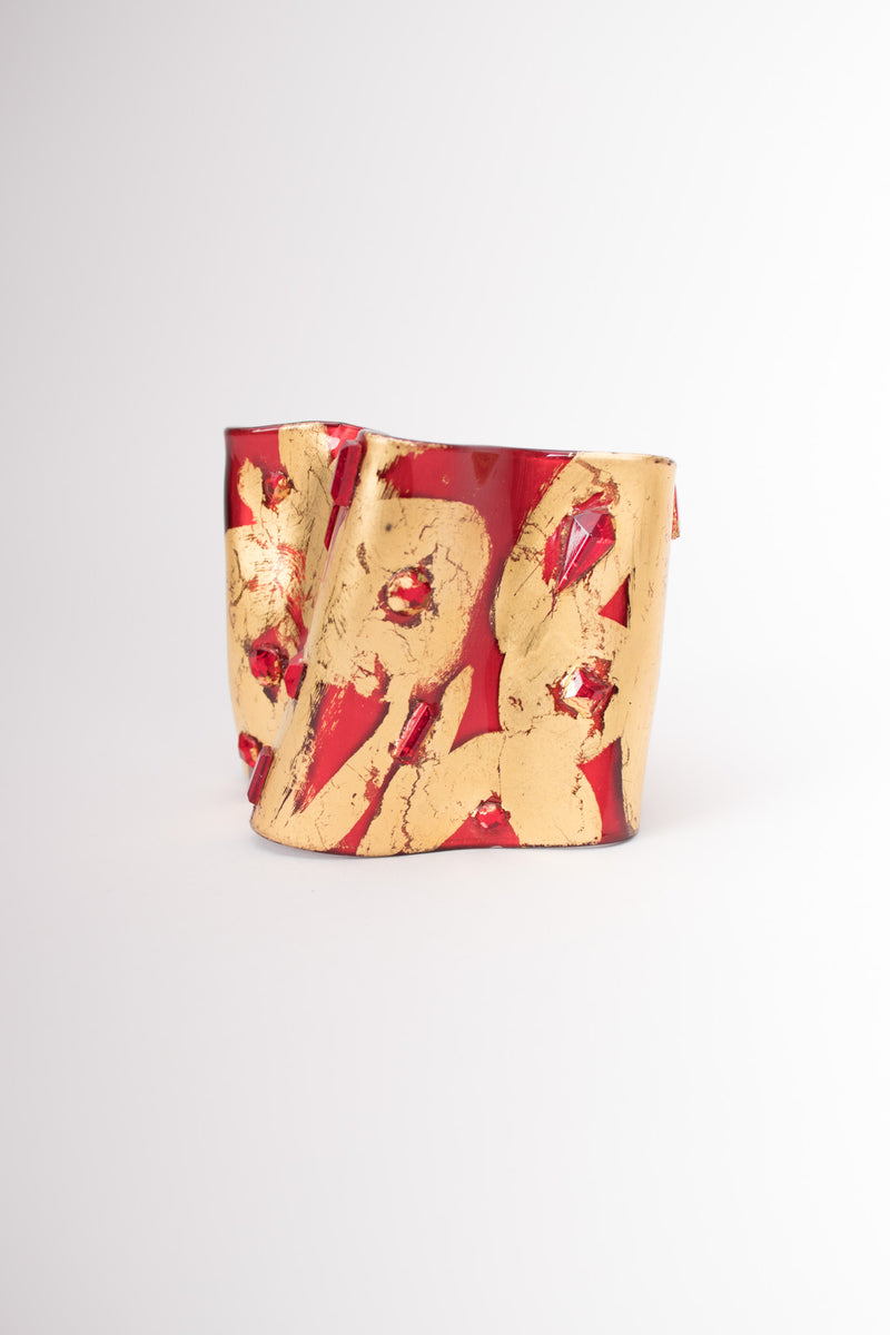 Bill Schiffer Freeform Plastic Abstract Art Cuff Bracelet