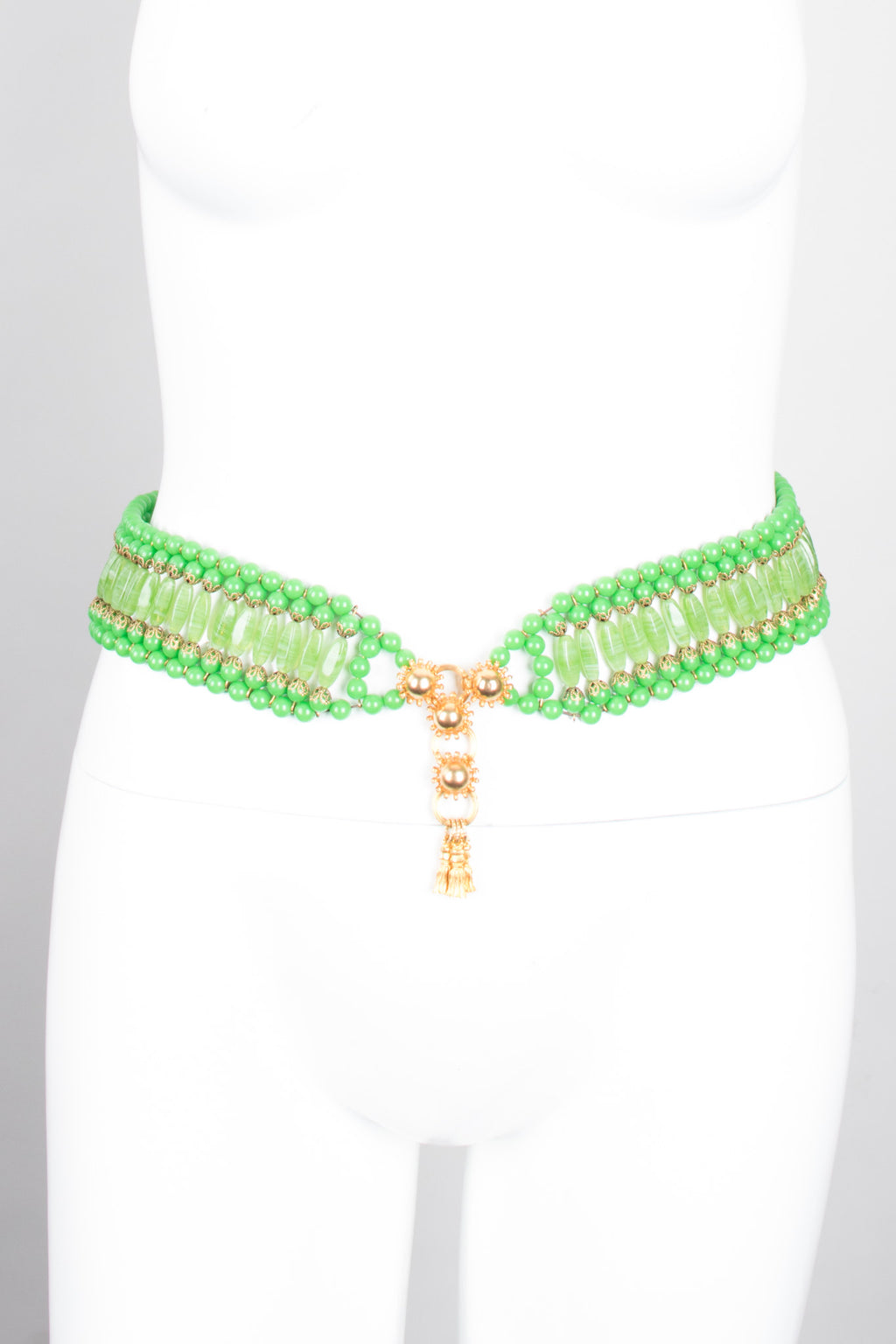 William de Lillo Vintage Green Glass Bead Belt