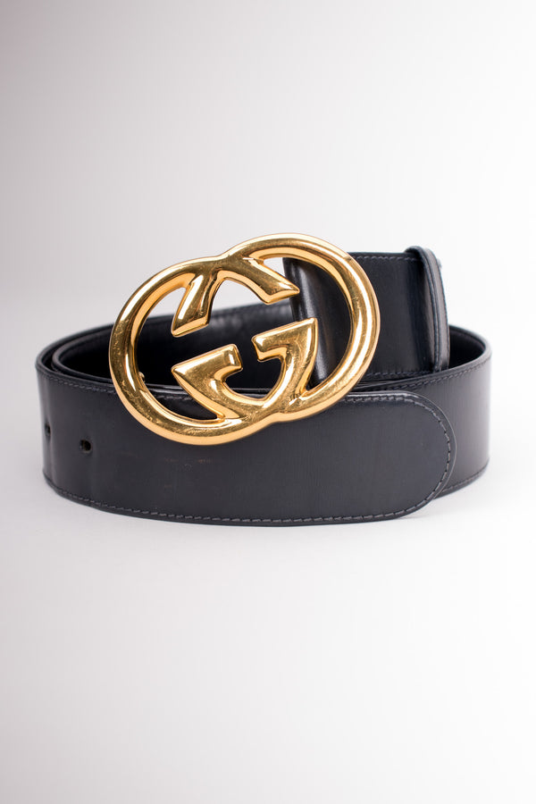 Gucci Vintage 80s GG Logo Buckle Leather Belt