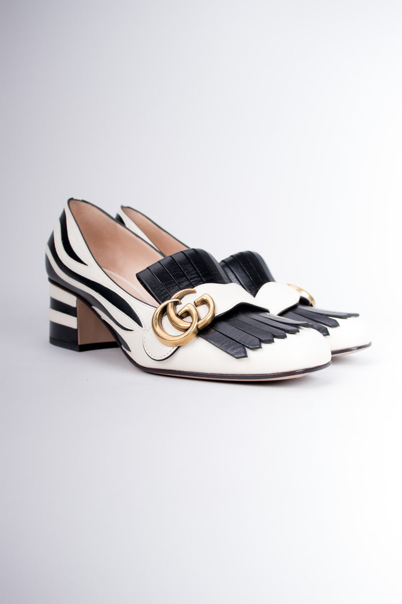 Gucci 2017 GG Marmont Fringed Zebra Appliqué Loafers