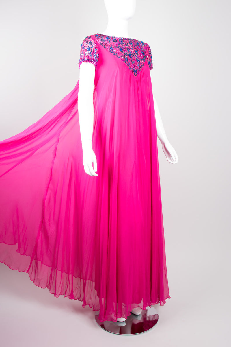 Malcolm Starr Vintage Silk Chiffon Sequin Maternity Trapeze Gown