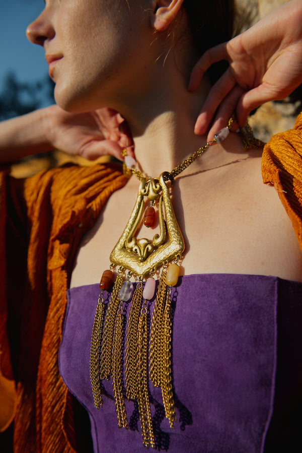 Vintage Goldette Fringe Plate Amulet Necklace on model at Recess Los Angeles