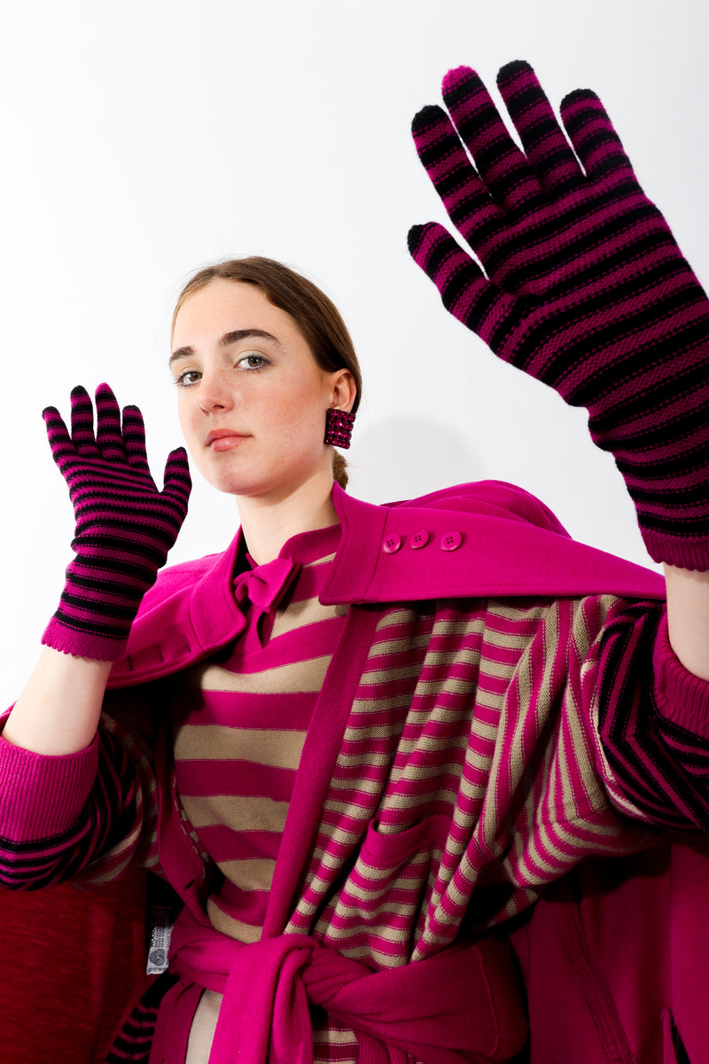 Girl wearing Vintage Sonia Rykiel striped sweaters and Fuchsia Stripe Knit Gloves