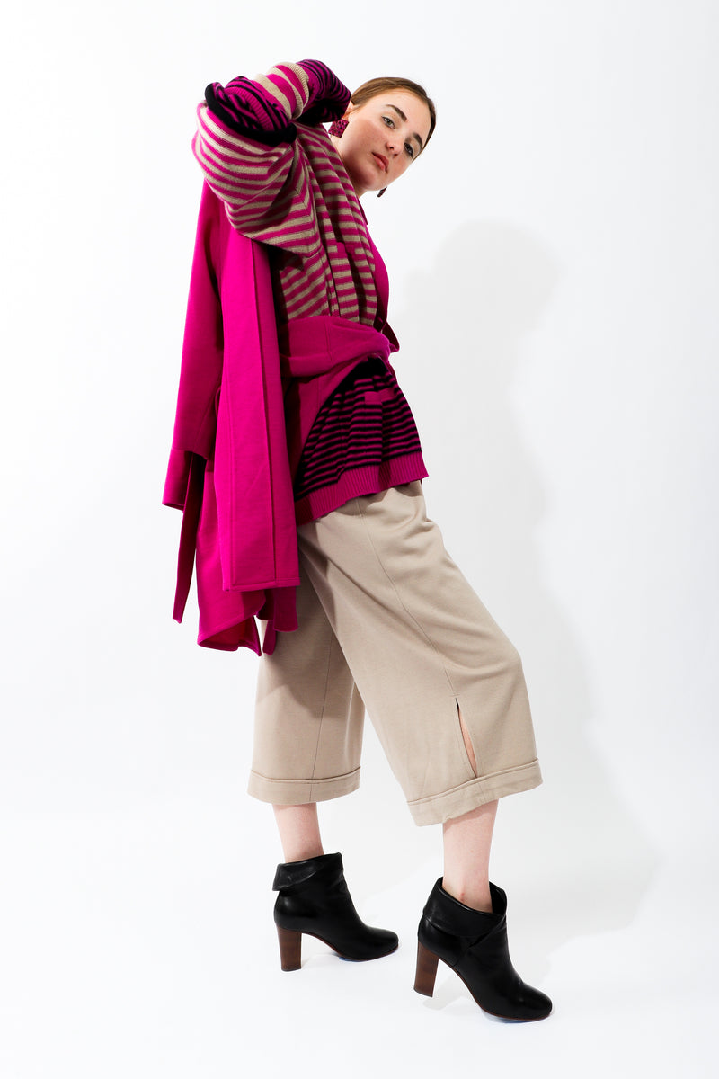 Girl wearing Vintage Sonia Rykiel Taupe Knit Cropped Trouser with fuchsia coat and sweater
