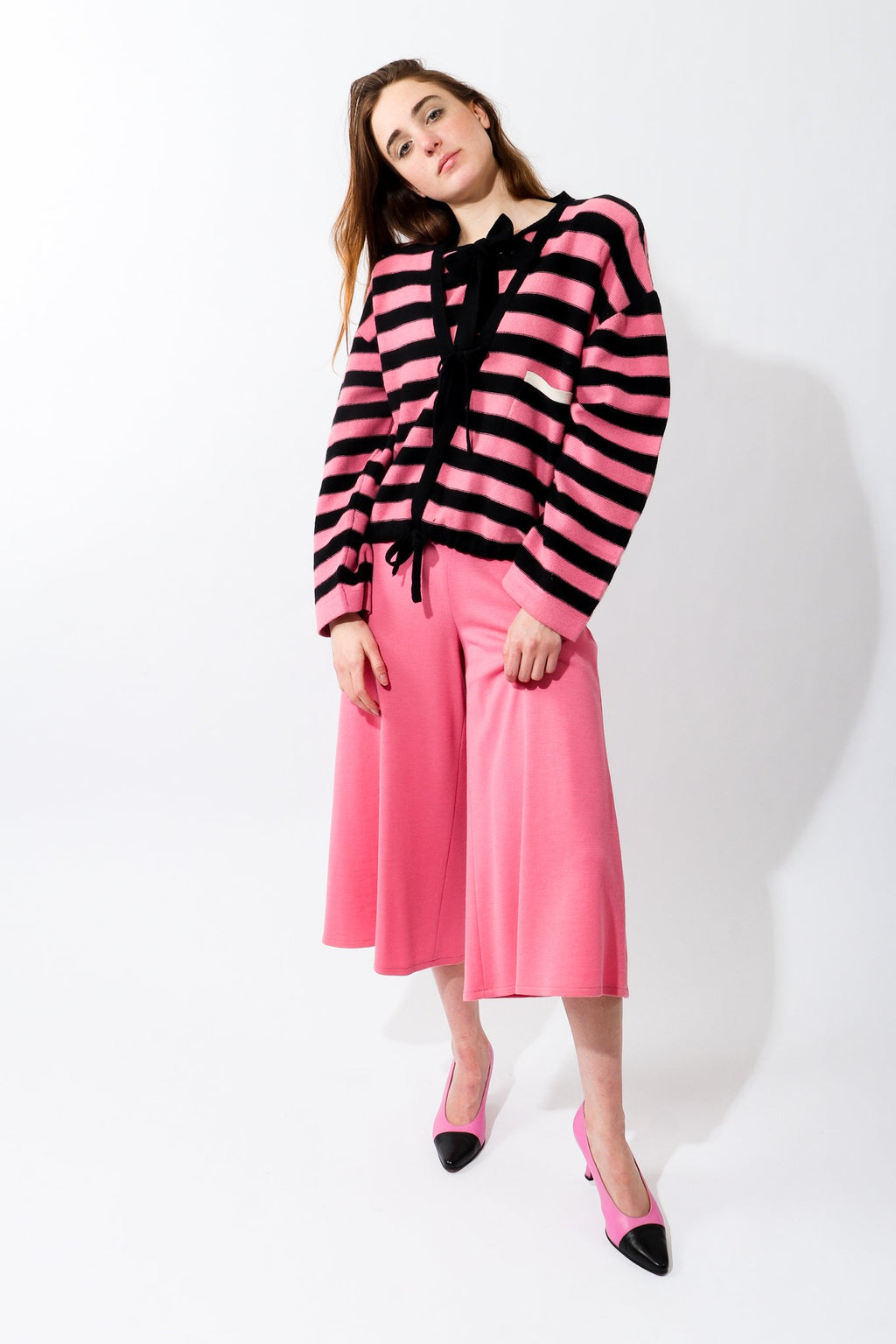 Girl in Vintage Sonia Rykiel Pink Knit Gaucho pant and stripe cardigan