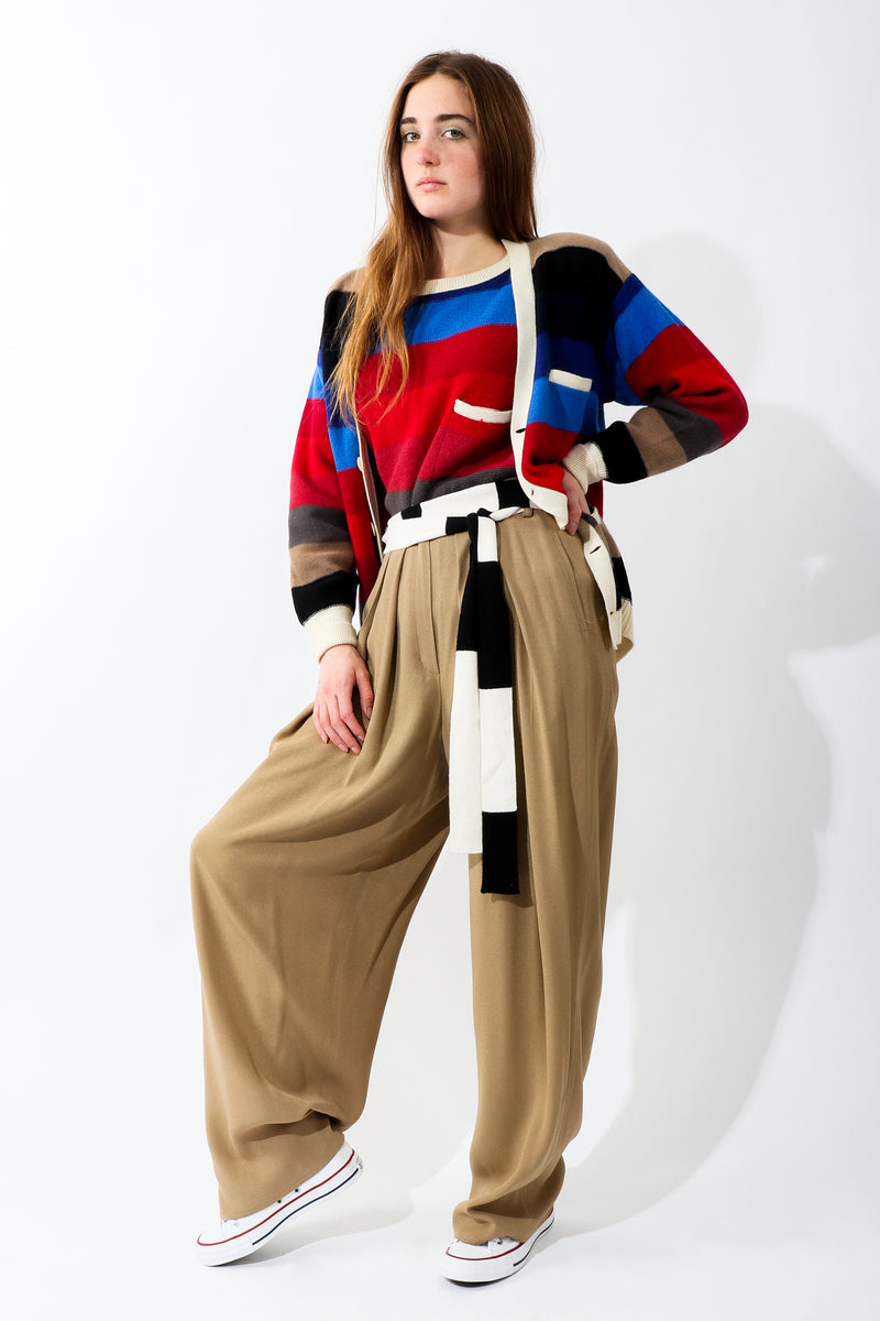 Girl in Vintage Sonia Rykiel Taupe Pleated Crepe Pant with striped sweaters