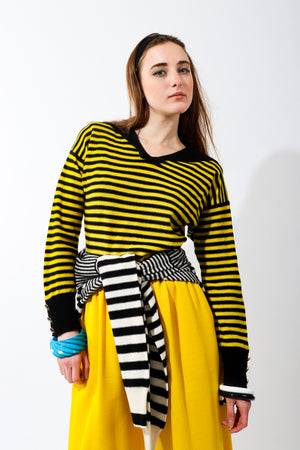 Girl wearing Vintage Sonia Rykiel Yellow Stripe Knit Sailor Sweater and yellow pants