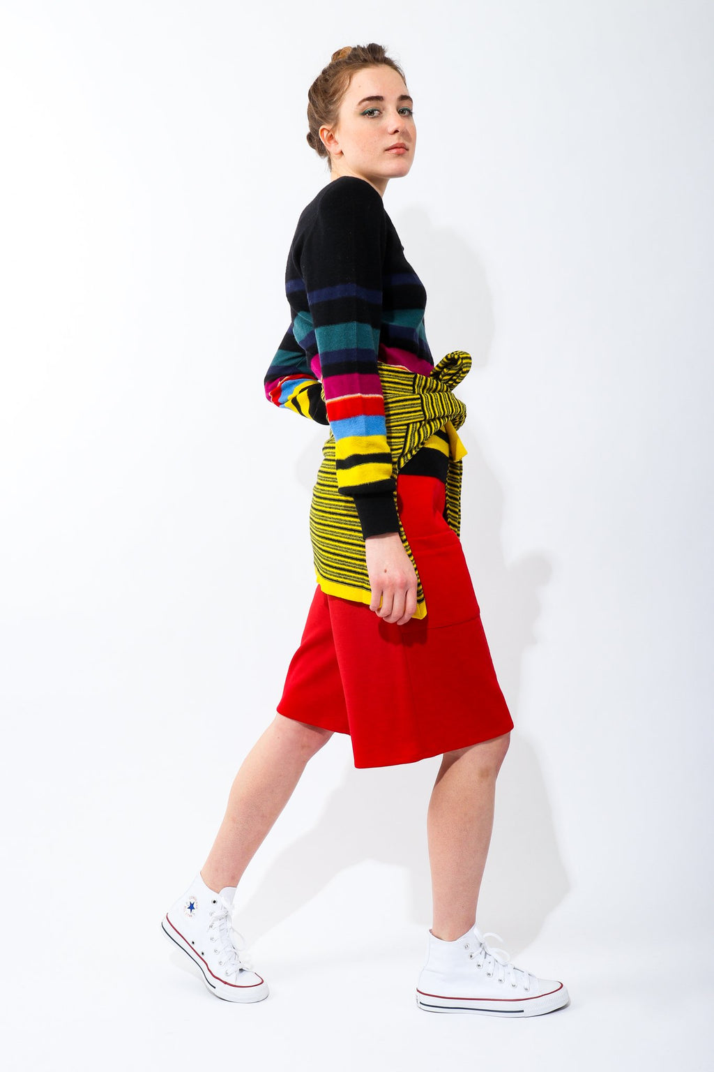 Girl Wearing Vintage Sonia Rykiel Red Knit Bermuda Walking Shorts and striped sweater with converse