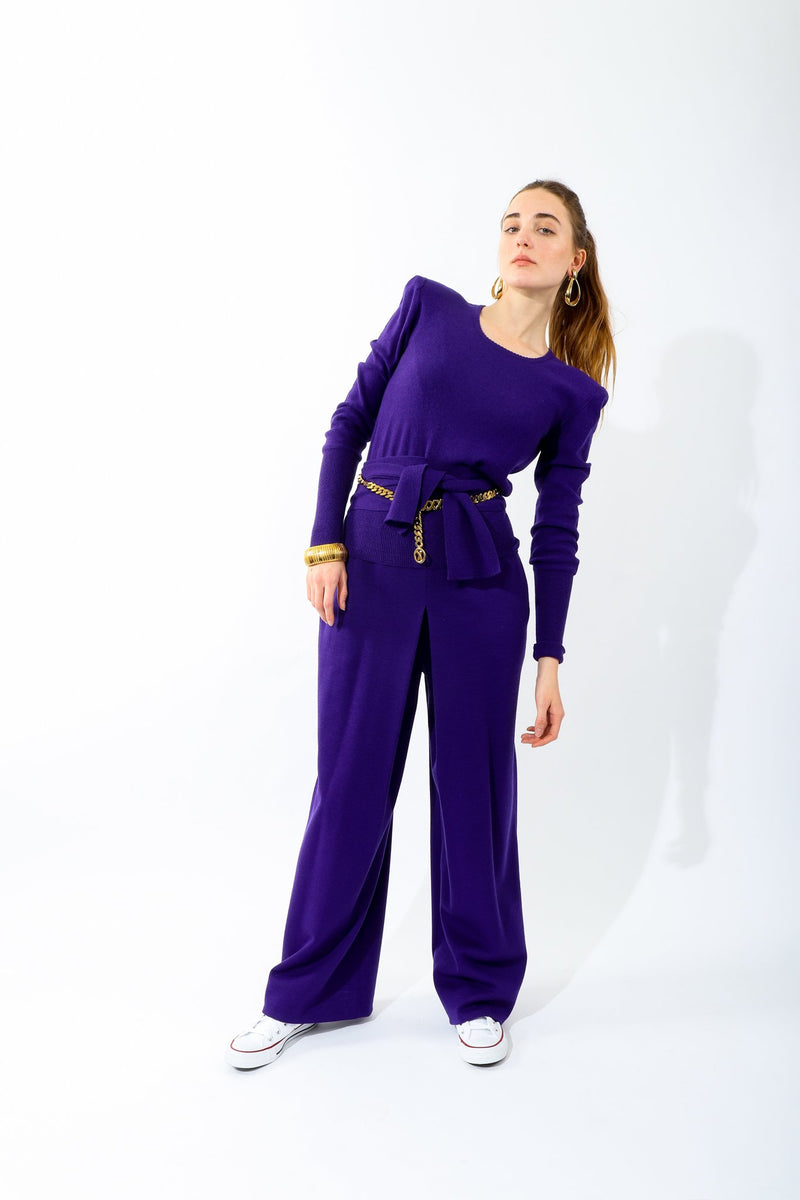 Girl wearing Vintage Sonia Rykiel Purple Waist Tie Sweater with matching pant
