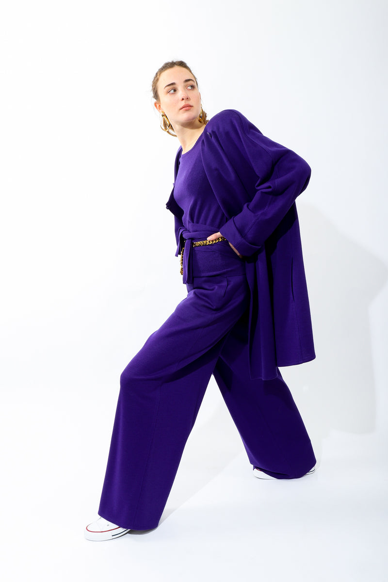 Girl wearing Vintage Sonia Rykiel Purple Knit Inverted Pleat Pant with matching coat